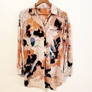 Ro & De Pattern Oversize Hi lo Button Down Shirt
